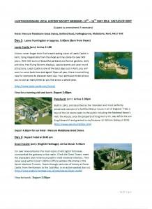 Society May Weekend - Castles of Kent (13-16 May)