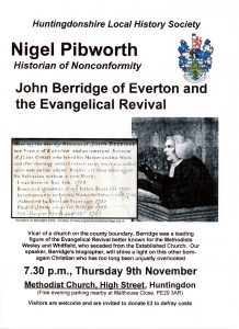 Society Lecture - John Berridge of Everton and the Evangelical Revival (Nigel Pibworth) @ Huntingdon Methodist Church